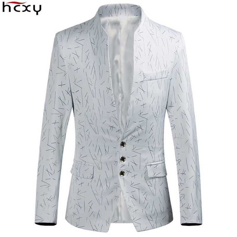 HCXY, брендовый 2019 мужской повседневный костюм, куртки, Мужской Блейзер, Masculino, модный, с бронзовым принтом, приталенный, красивый, стоячий воротник
