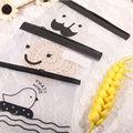 Bigode de Escritório Sorriso transparente Cosméticos Compõem Saco do Lápis Bolsa Caso Bonito
