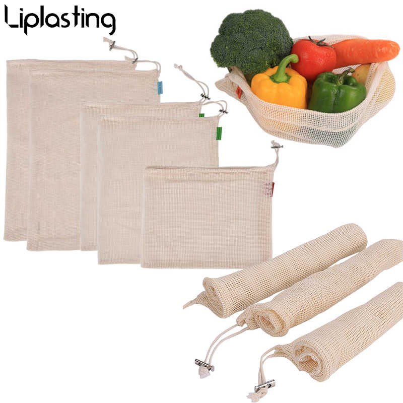 Eco friendly Reusable Produce Bags Washable Bags for Storage Fruit Vegetable With Drawstring Organizer Storage Mesh Bag