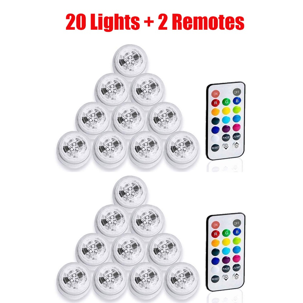 20 Pcs/lot Submersible LED Tea Light Mini Table Lights With Battery Party Supplies Christmas Vase Paper Lantern Decoration Lamps