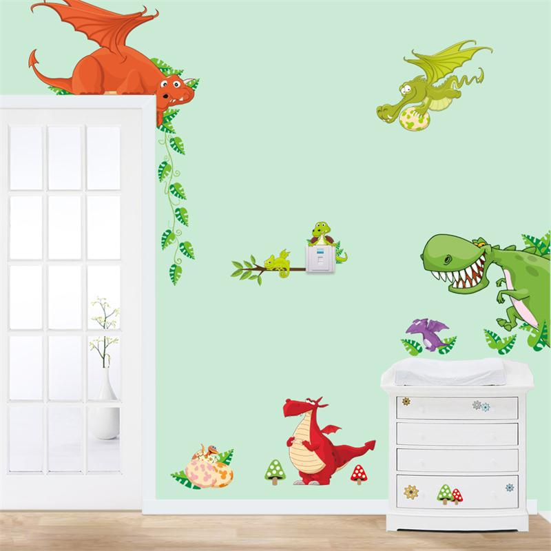 Animals 3D Cartoon dinosaurs Live in your home DIY Wall Stickers ...