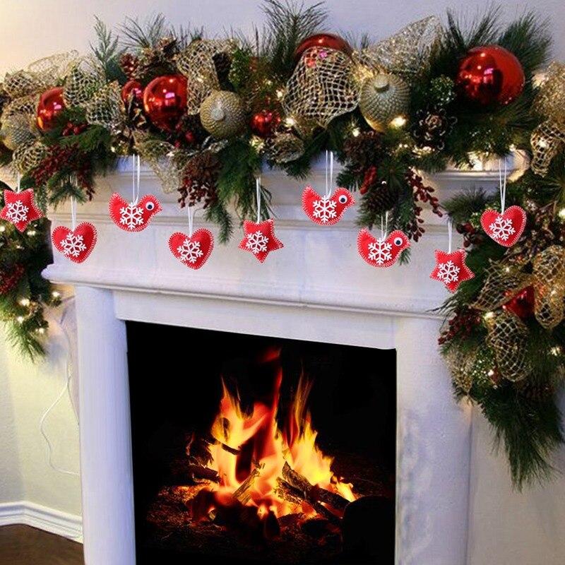 aytai 3pcs red bird heart star felt christmas tree hanging ornament felt christmas tree decorations new year decor for home in pendant drop ornaments from - Red Bird Christmas Tree Decorations