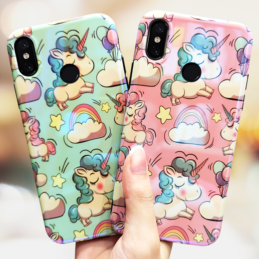 cute 3d unicorn blue ray phone case for xiaomi mi 9 A2 8 mix 3 glossy tpu+pc hard back cover for xiaomi mi A2 case shell capa