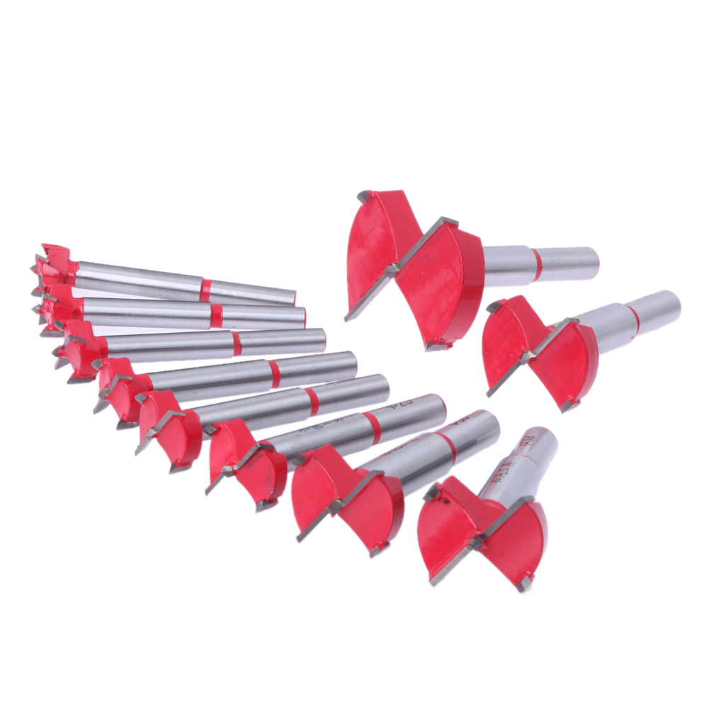 10Pcs 15mm-50mm Woodworking Tools Carbide Forstner Auger Drill Bits Set Hole Saw Drill Bits Cutter Tool Wood Drilling Power Tool new 50mm concrete cement wall hole saw set with drill bit 200mm rod wrench for power tool