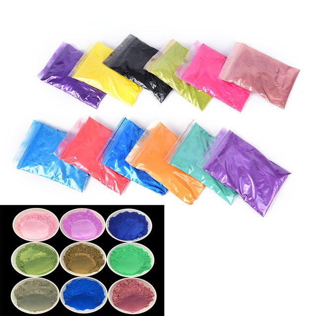 12 Color 10g Healthy Natural Mineral Mica Powder DIY For Soap Dye Soap Colorant Makeup Eyeshadow Soap Powder Skin Care New