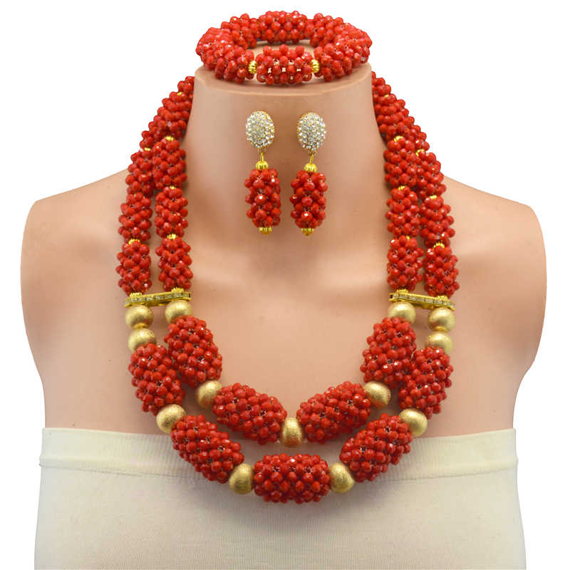 Red Color African Beads Jewelry Sets Two layer Beads Indian Jewelry Sets Luxury Statement Choker Necklace Fashion Jewellery