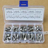 Stainless Steel 4 40 to 1/4 28 Allen Hex Socket Head Cap Screws Assortment Kit