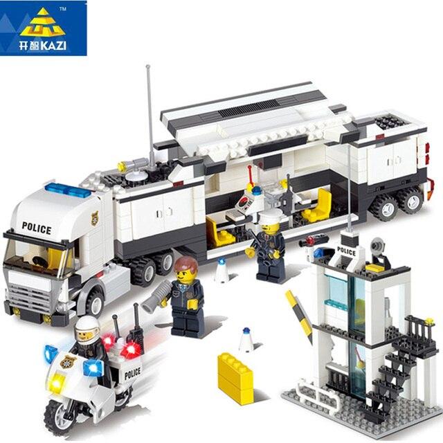 KAZI 6727 Diy Police Station Legos Model Building Blocks Playmobil Blocks DIY Bricks Educational Toys For Children Gift