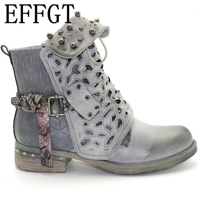 EFFGT Women Rhinestone Winter ankle Boots Zipper Rivet Buckle Western Boots  Round head low heel martin bb1d063670f4