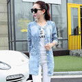 2016 New Style Women Coats  Long Sleeve   Ripped Denim Long Trench Coat   Plus Size 4XL Women Coat  XD040
