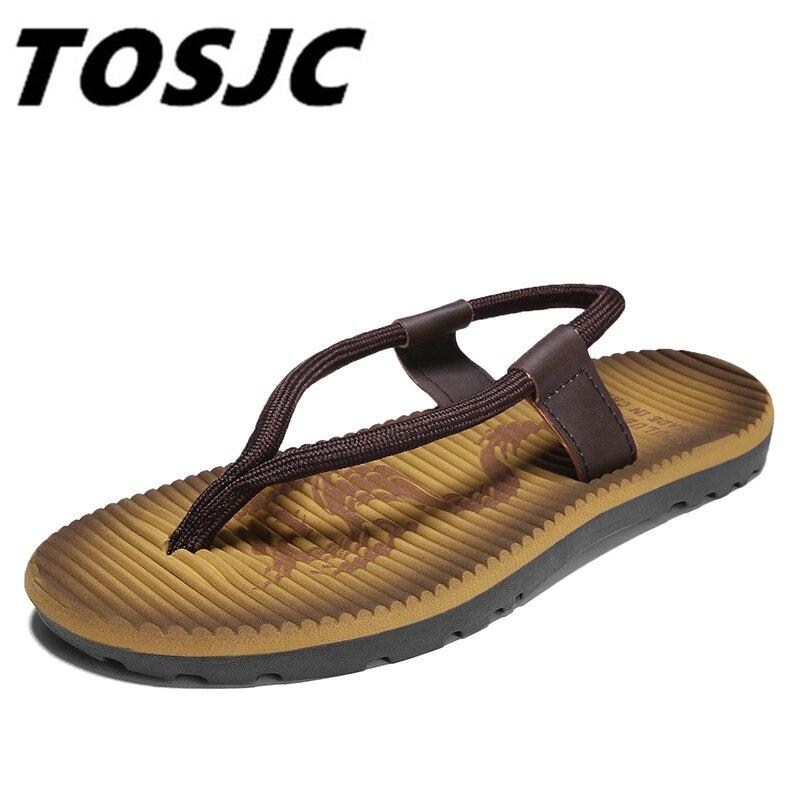 TOSJC 2018 Men Flat Flip Flops Leather Flip-Flops Mens Sandals Casual Summer Shoes Fashion Beach MenS Sandals Flip Flops
