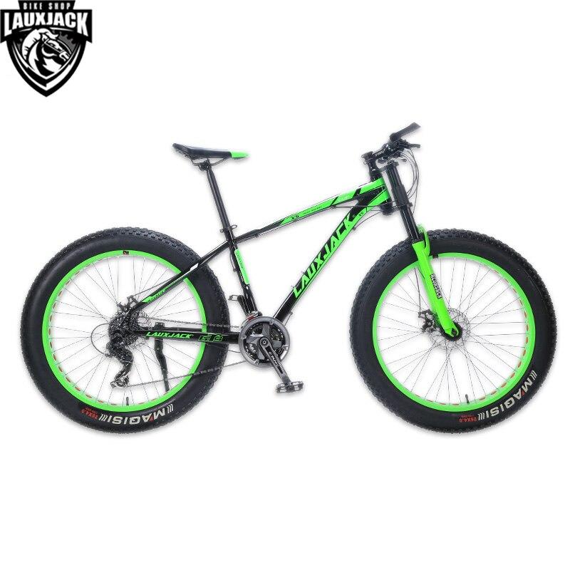 LAUXJACK Mountain Bike Aluminum Frame 24 font b Speed b font Shimano Mechanical Brake Fat Bike