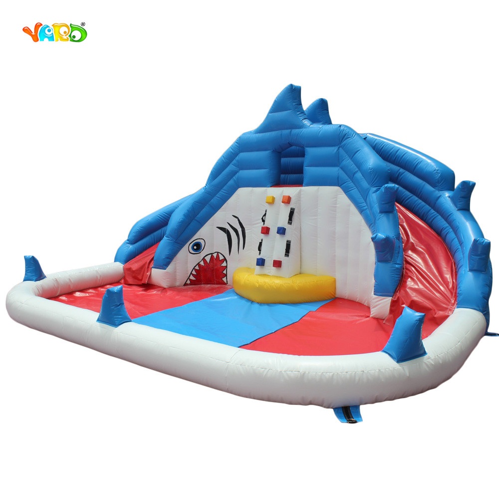 Gaint Inflatable Water Game Double Water Slide And Swimming Pool Shark Bouncy Castle Inflatable Pool Bounce House free shipping hot commercial summer water game inflatable water slide with pool for kids or adult
