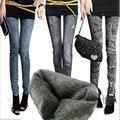 S-XL das Mulheres Novas Calças Marca de Moda Além de Veludo calças de Brim Stonewash Denim Jeans Skinny Stretchable Falso Calças 14 Cores