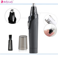 Men S Portable Nose Ear Hair Trimmer With LED Light Stainless Steel Blades Battery Operated