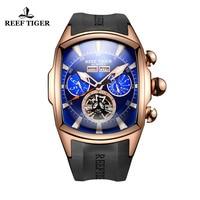 Reef Tiger/RT Mens Sports Watches Analog Display Luminous Tourbillon Watches Rose Gold Blue Dial Tank Watches erkek kol saati