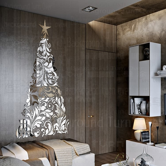 Creative DIY 3d Plastic Wall Mirror Sticker Elegant Christmas Tree Decorations Home Interior Decor Decorative