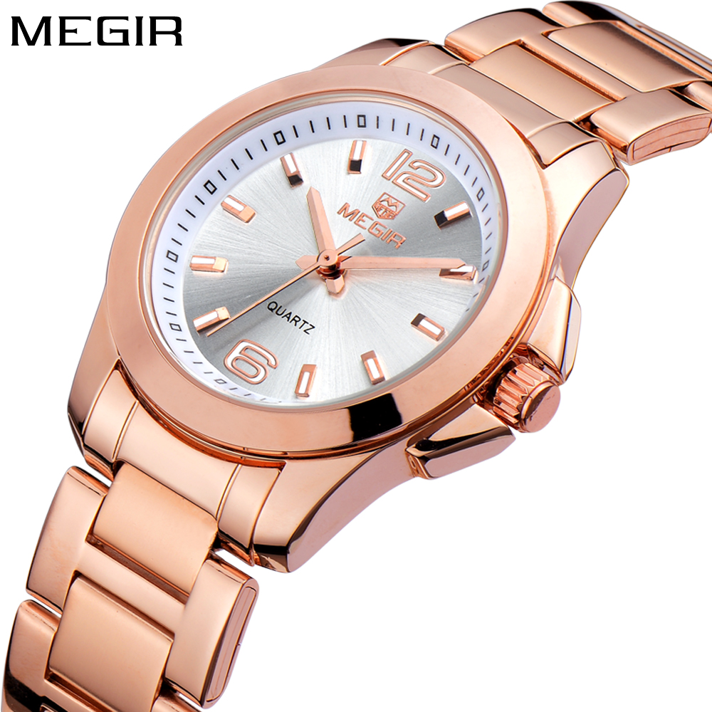 MEGIR Brand Luxury Fashion Rose Gold Ladies Watch Women Quartz Women Stainless Steel Watches Wrist Watch Girls Relogio Feminino new luxury ceramic watches men s quartz watch ladies fashion brand watches women s bracelets watch rose gold relogio feminino
