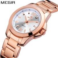 MEGIR Brand Luxury Fashion Rose Gold Ladies Watch Women Quartz Women Stainless Steel Watches Wrist Watch Girls Relogio Feminino