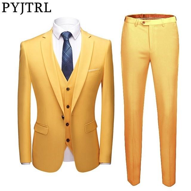 PYJTRL Men Fashion Three Pieces Set Business Casual Slim Fit Suits Wedding Groomsman Groom Colorful Dress Suit Costume Homme