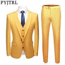PYJTRL мужской модный Комплект из трех предметов, деловой Повседневный облегающий костюм, Свадебный яркий костюм жениха, костюм для мужчин