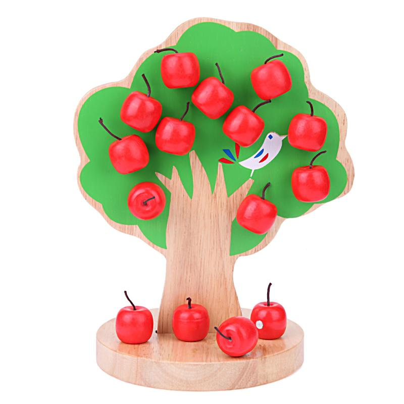 Montessori Wooden Magnetic Apple Tree Toys Baby Preschool Learning Math Puzzle Teaching Tool Kids Early Educational Toy Gifts baby wooden toys multifunctional learning cube puzzle round beads abacus frame baby educational toys for children