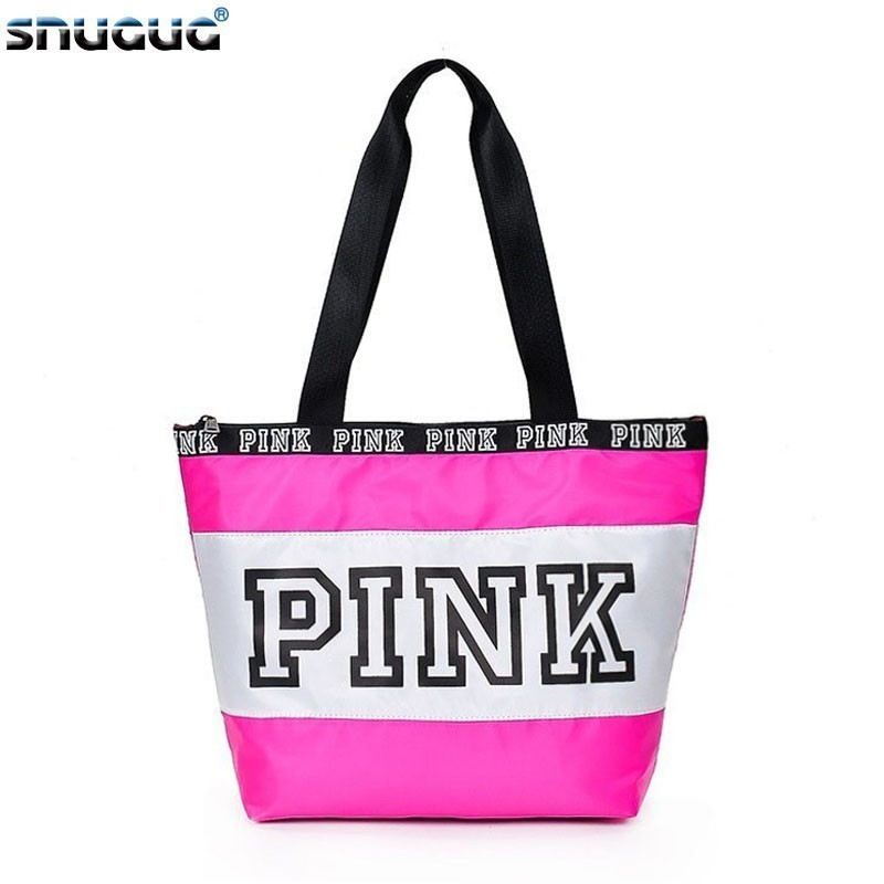 SNUGUG Nylon Ladies Handbags Travel Portable Pink Gym Bags Women Waterproof Fitness Bag For Training Outdoor Women's Sport Bag