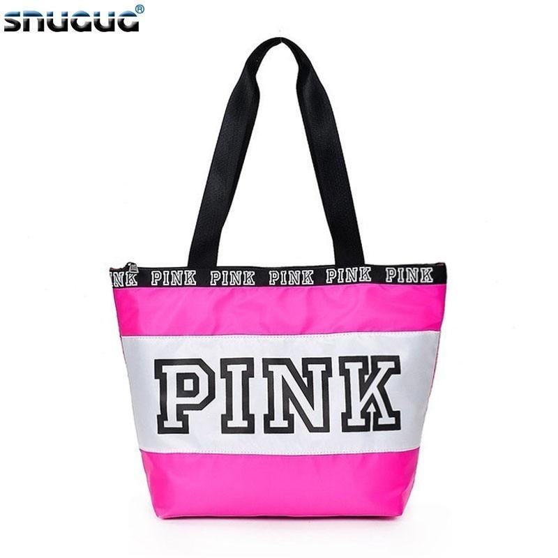 SNUGUG Nylon Ladies Handbags Travel Portable Pink Gym Bags Women Waterproof Fitness Bag For Training Outdoor Women's Sport Bag