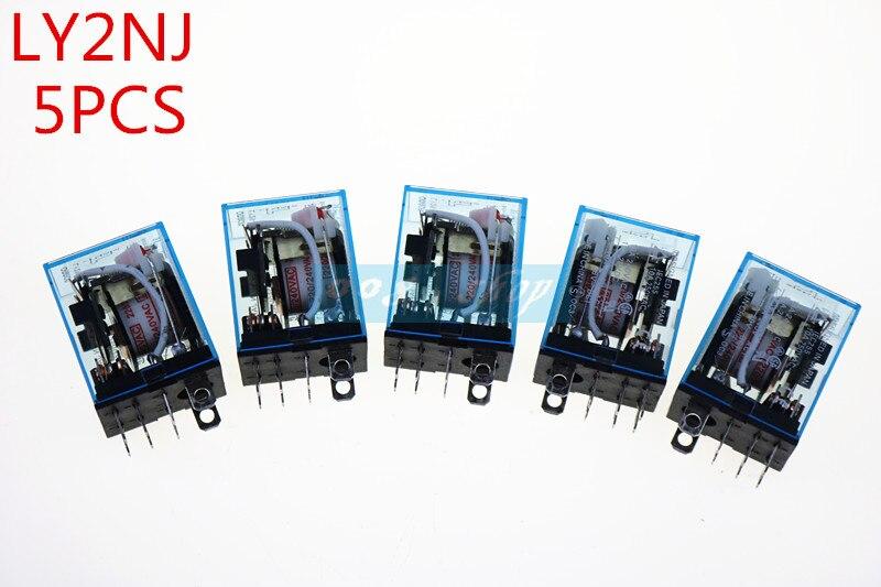 5Pcs Relay LY2NJ DC 12V DC 24V AV 110V AC 220V Small relay 10A 8PIN Coil DPDT jqx 60f 1z 60a 12v dc 24v dc 220v ac coil power relay