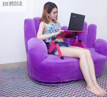 SUFEILE Super cooling fan Laptop table 360 rolling mesa notebook stand Folding Portalbe laptop table for bed with mouse pad D5