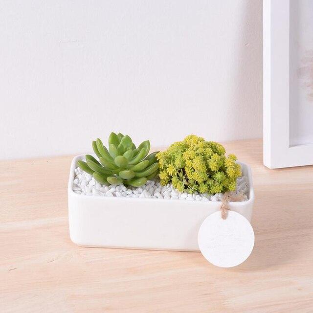 Zakka Blanc En Ceramique Decoratif Pot De Fleur Rectangulaire