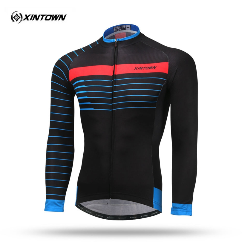 все цены на XINTOWN Black long Sleeve Thermal Fleece Men Cycling Jersey Winter Ciclismo Bike Bicycle Racing Sport Clothing MTB Bike Jersey онлайн