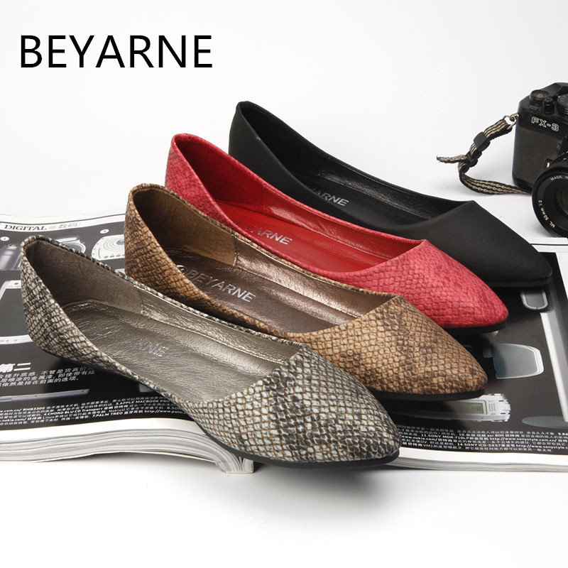 BEYARNE Flats for women fashion serpentine pattern embossed boat shoes ladle shoes shallow mouth pointed toe shoes women flats beyarne women s d orsay flats spring autumn pointed toe shallow mouth woman basic flats shoes ladies casual single shoes pink