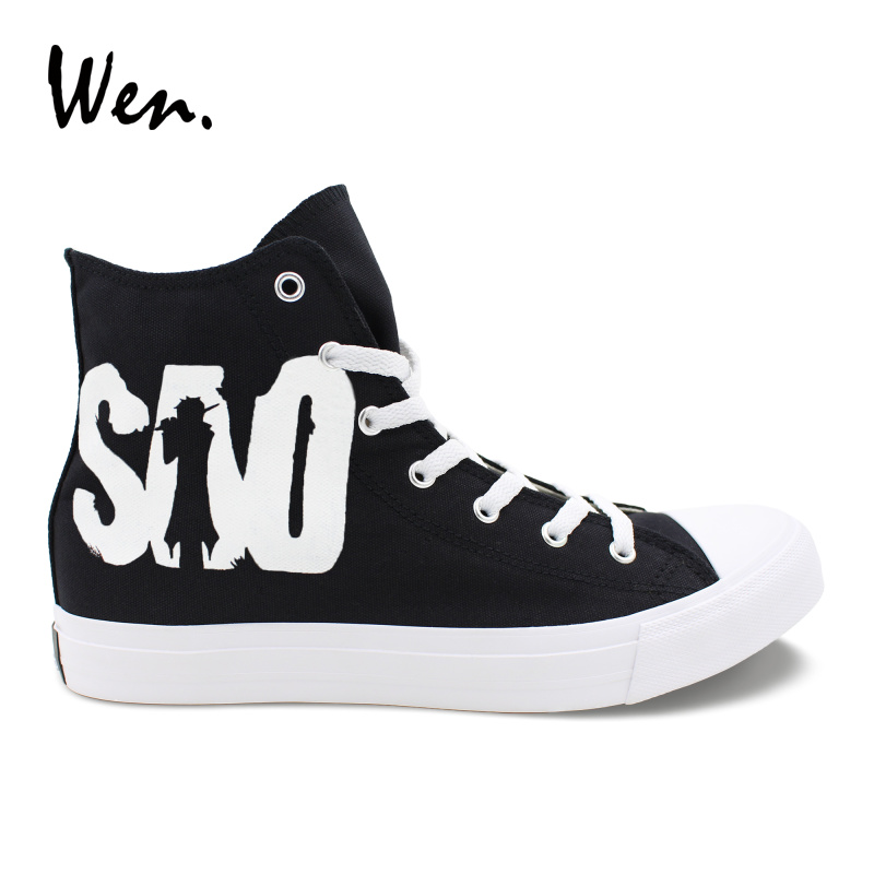 Wen Solid Black Canvas Vulcanize Shoes Sword Art Online Men Hand Painted Sneakers Women Casual Flat Strappy Platform Loafers