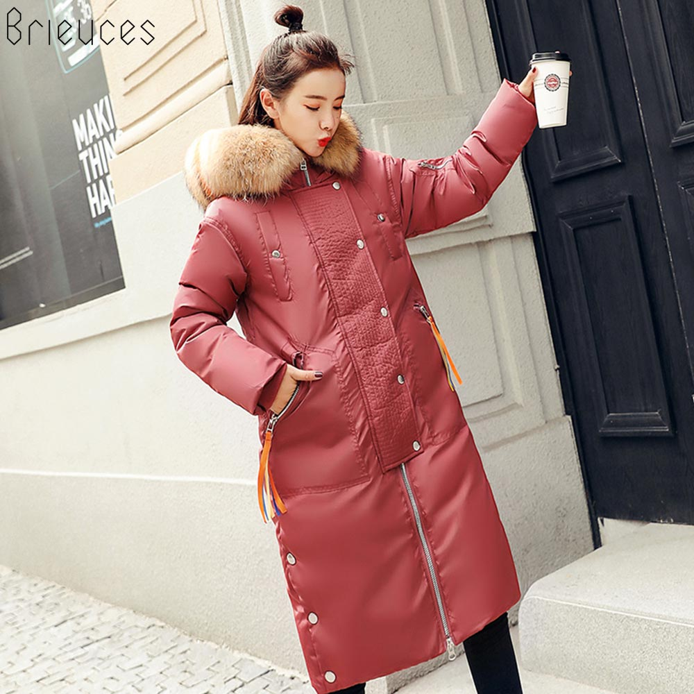 Brieuces winter coat women winter jackets women 2018 female coat Hooded Outwear woman long   parkas   Faux fox fur Cotton padded