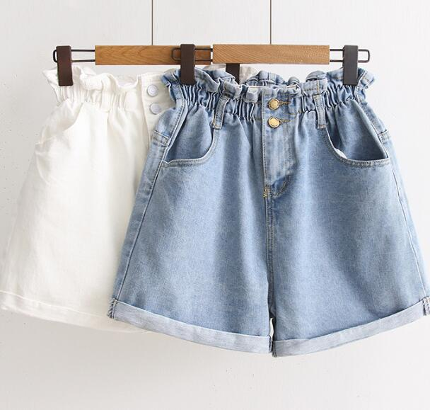 Curling loose waist denim shorts Korean high waist wide leg pocket Denim shorts summer