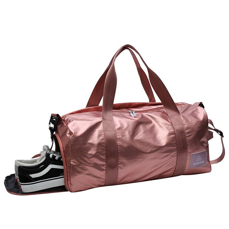 Pink Travel Duffle Bags Waterproof Luggage Yoga Handbags For Shoes Dry Wet Bag Girls Shoulder Bag For Women Training Weekender