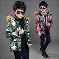 Crianças casaco de inverno meninos jaqueta de camuflagem criança mornas do inverno do algodão roupa dos miúdos outwear moda para baixo casaco de algodão de enchimento para 5-17Y