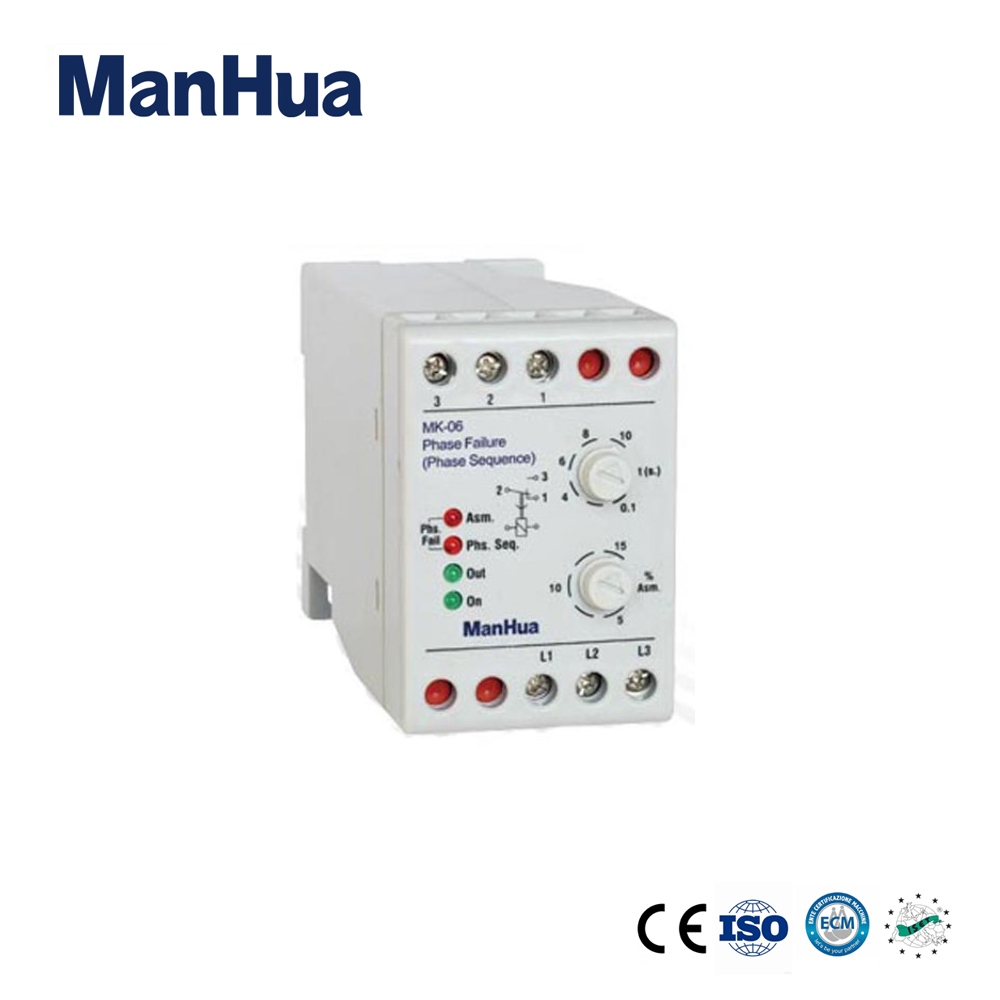 Manhua Hot sale Product AC380V 5A 3 Phase Sequence Voltage Unbalance MK-06 the protection from the Phase Failure Relay реле relay 3 3 2 5a