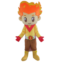 100% in kind shooting fire boy costume plush adult fire head mascot costume