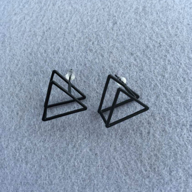 Vintage Rock Punk Gothic Charm Geometric Triangle Stud Earrings Lovers Ear Stud Gift for Men Women Black Silver Gold Color Sale