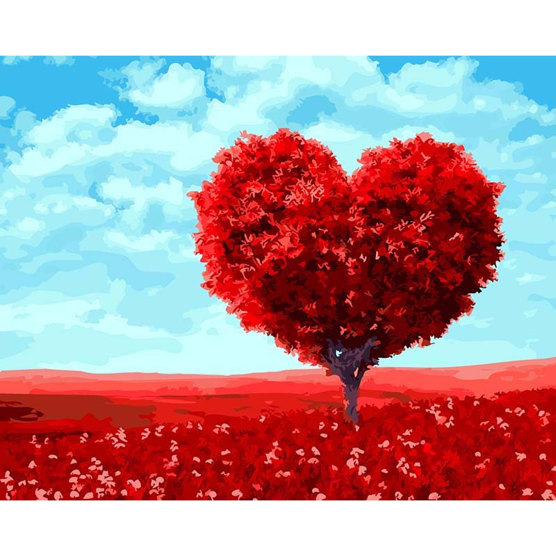 GATYZTORY Frameless Red Heart Trees DIY Painting By Numbers Wall Art Picture Unique Gift For Wedding Decoration 40*50cm Artwork