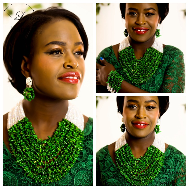 Laanc Brand Nigerian Wedding Bridal Necklace Costume African Coral Beads Jewelry Set Green and Clear AB Crystal AL287