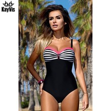 0d47e8145410 KayVis NOVO 2018 Sexy Alta Corte Um Pedaço Swimsuit Backless Swimwear  Mulheres Maiô Natação Beachwear Monokini