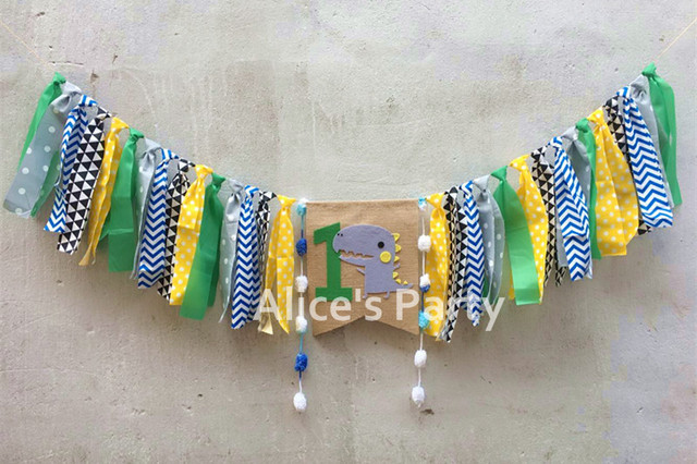 3c7d6bf31 New Jungle Safari Theme Dinosaur Highchair Banner Green Blue One 1st  Birthday Garland Baby Shower Decoration Cake Smash Flag