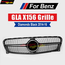 X156 Diamond Grille ABS Black without central logo Front Bumper Grille For Mercedes Benz GLA X156 GLA180 GLA200 GLA250 2014-16 for mercedes benz gla x156 front grille silver abs gla45 amg gla180 gla200 gla250 without central logo front racing grille 14 16