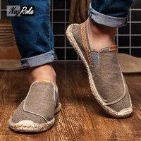New Casual Fashion Men Shoes Loafers Espadrilles Men Trainers Jute Linen Shoes For Men Scarpe Estive