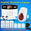 Venda quente GSM Sistema de Alarme Com Fio/Sem Fio 433 MHz, russo/Inglês Voz Prompt, embutido Relé de Controle do Dispositivo de Apoio Extra