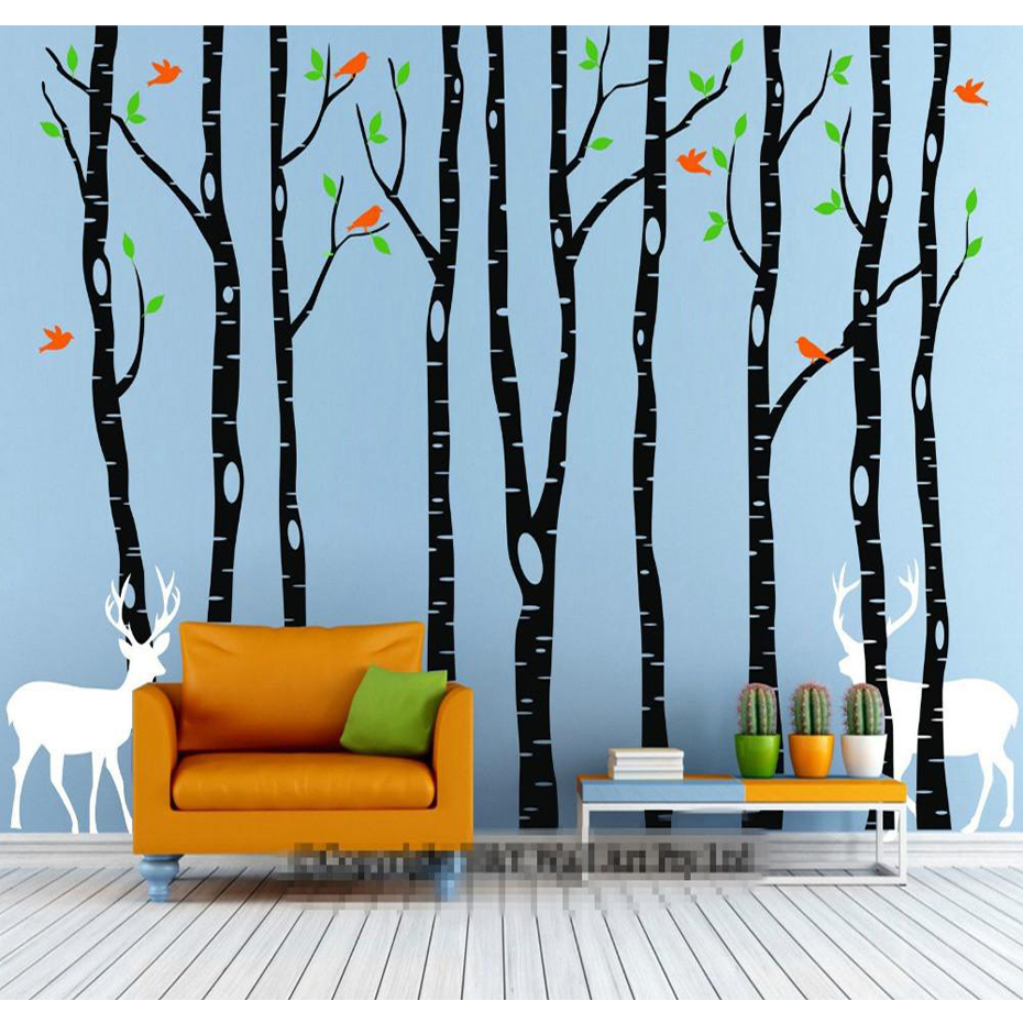 compare prices on birch wall art online shopping buy low price modern 9 birch birds tree deer wall art decals forset vinyl nursery mural sticker diy for
