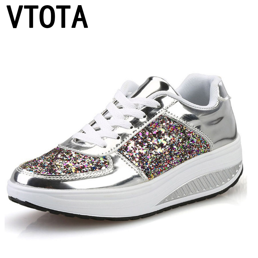 VTOTA Women 's Vulcanize Shoes Lace Up Wedges Platform Shoes Mixed Colors Lady Casual Sneakers Autumn Gold Tenis Feminino H151